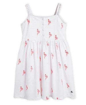 Cherry Crumble By Nitt Hyman Sleeveless All Over Flamingo Printed Dress - White