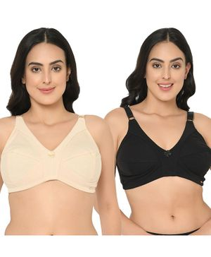 Curvy Love Pack of 2 Cotton Full Coverage Plus Size Bra - Beige & Black
