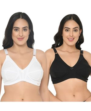 Curvy Love Pack of 2 Cotton Full Coverage Plus Size Bra - White & Black