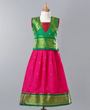 Bhartiya Paridhan Jacquard Design Lehenga Choli Set With Silk Border - Pink Green