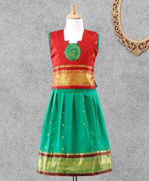 Bhartiya Paridhan Sleeveless Choli & Lehenga - Red Green