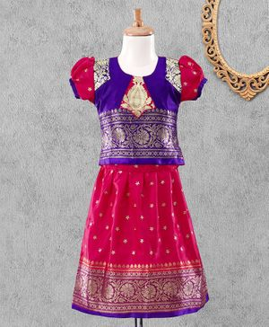 Bhartiya Paridhan Puff Sleeves Choli & Lehenga Floral Embroidery - Blue Pink