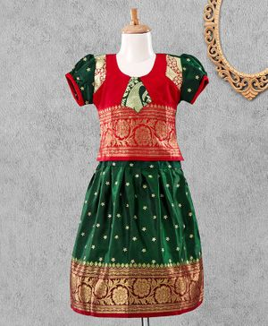 Bhartiya Paridhan Puff Sleeves Choli & Lehenga Floral Embroidery - Red Green