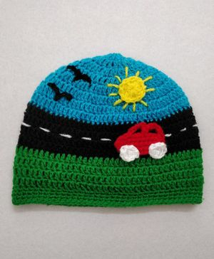 Knit Masters Car Design Cap - Blue & Red