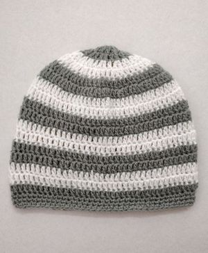 Knit Masters Striped Pattern Cap - Grey & White