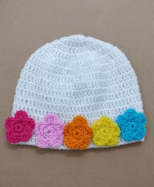 Knit Masters Flower Applique Cap - White &  Multicolour