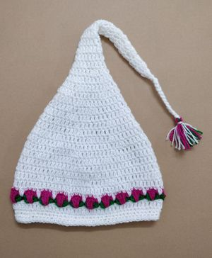 Knit Masters Tulip Flower Cap - White & Pink