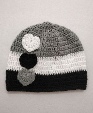 Knit Masters Colour Block Pattern Heart Applique Cap - Grey & White