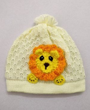 Knit Masters Lion Applique Cap - Yellow