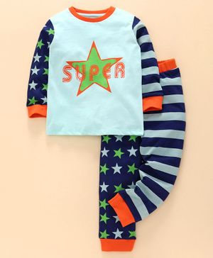 Ventra Full Sleeves Star Printed & Striped Night Suit - Blue