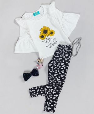 Tiara Half Sleeves Sunflower Print Top With Printed Legging - Yellow
