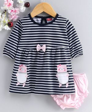 Babyhug Full Sleeves Striped Frock with Bloomer - Blue White