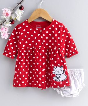 Babyhug Full Sleeves Frock with Bloomer Heart Print - Red