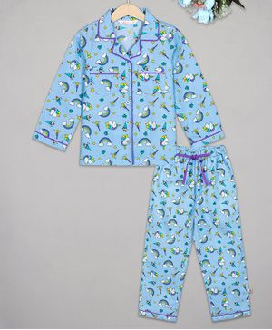 Budding Bees Full Sleeves Unicorn Printed Night Suit - Blue