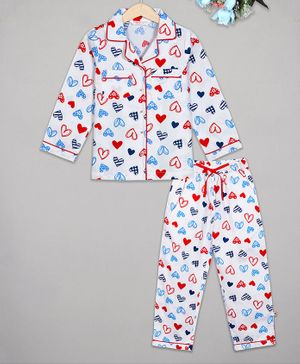 Budding Bees Full Sleeves Heart Printed Printed Night Suit - Multicolor