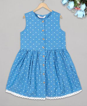 Budding Bees Sleeveless Heart Printed Lace Detailed Chambray Dress - Blue
