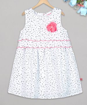 Budding Bees Sleeveless Dot Print Flower Detailed Dress -White