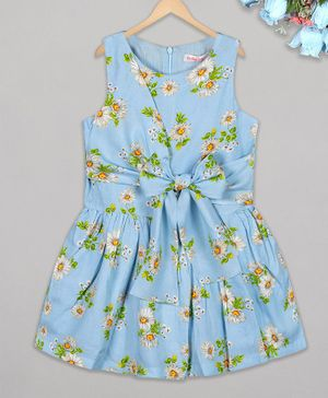 Budding Bees Sleeveless Floral Print Frill Knotted Dress-Blue