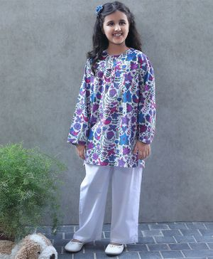 Bellazaara Full Sleeves Floral Print Kurti With Pajama - Blue