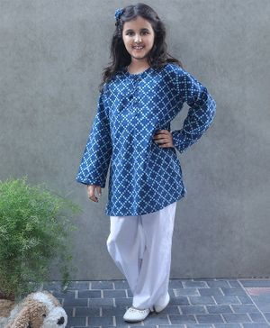 Bellazaara Full Sleeves Checked Kurti With Pajama - Blue