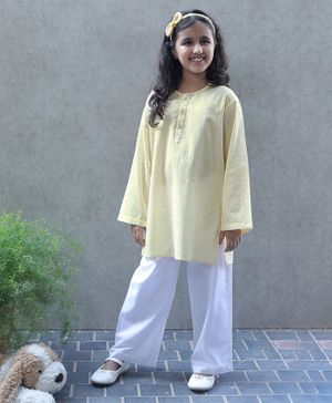 Bellazaara Full Sleeves Dome Pattern Kurti With Pajama - Yellow