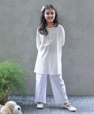 Bellazaara Full Sleeves Patterned Kurti With Pajama - White