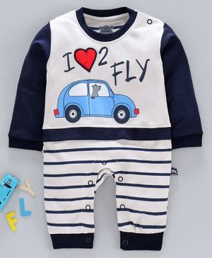 Mini Taurus Full Sleeves Romper Car Print - Wgite Blue