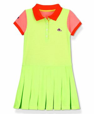 Cherry Crumble By Nitt Hyman Colour Block Pattern Half Sleeves Polo Tee - Green