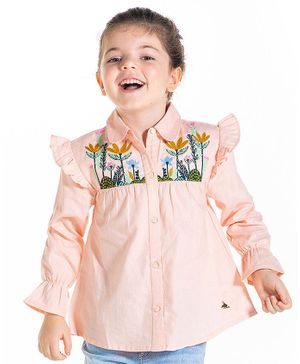 Cherry Crumble By Nitt Hyman Full Sleeves Flower Embroidery Detailing Top - Baby Pink