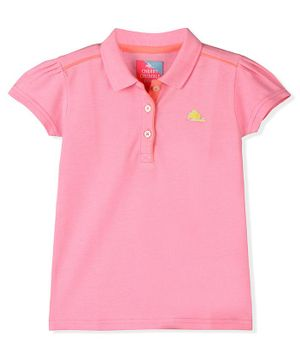 Cherry Crumble By Nitt Hyman Solid Colour Half Sleeves Polo Tee - Light Pink