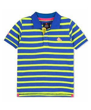 Cherry Crumble By Nitt Hyman Half Sleeves Striped Polo Tee - Blue & Yellow