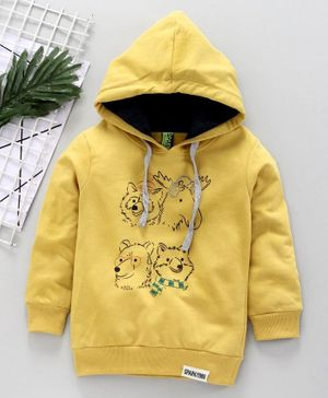 Spark Full Sleeves Hooded Cotton T-Shirt Animal Print - Yellow