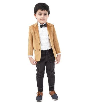 Babyhug Full Sleeves 3 Piece Party Suit - Brown White
