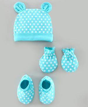 Babyhug 100% Cotton Cap Mitten & Bootie Set Polka Dot Print Blue - Diameter 11 cm