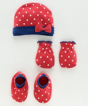 Babyhug 100% Cotton Cap Mitten & Bootie Set Polka Dot Print Red - Diameter 9 cm