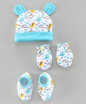 Babyhug Cap Mitten & Booties Animal Print Blue - Diameter 11.5  cm