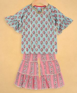 oui oui Half Sleeves Flower Print Kurta With Sharara Set - Pink & Blue
