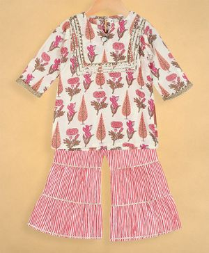 oui oui Three Fourth Sleeves Flower Print Kurta With Sharara Set - Pink & White
