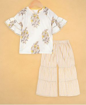 oui oui Half Sleeves Floral Print Kurta With Sharara Set - Yellow & White