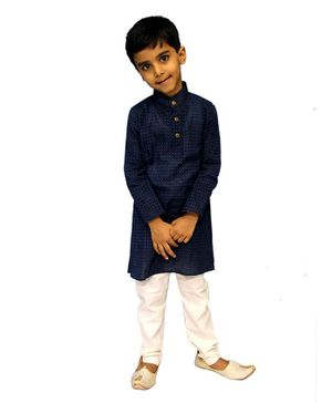 Mittenbooty Full Sleeves Dots Print Kurta With Pyjama Set - Navy Bue