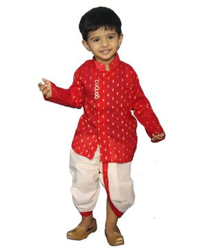 Mittenbooty Full Sleeves Dots Design Kurta & Dhoti Set  - Red & Cream