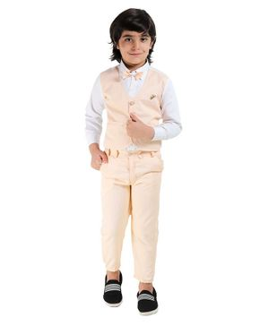 Fourfolds Full Sleeves Checked Shirt With Trouser & Bow Tie - Fawn