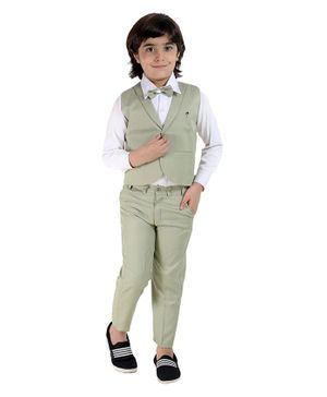 Fourfolds Full Sleeves Solid Shirt With Waistcoat Trouser & Bow Tie Set  - Mehandi