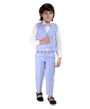 Fourfolds Full Sleeves Solid Shirt With Waistcoat Trouser & Bow Tie Set  - Blue