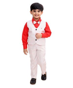 Fourfolds Full Sleeves Solid Shirt With Checked Waistcoat Trouser & Bow Tie - Red