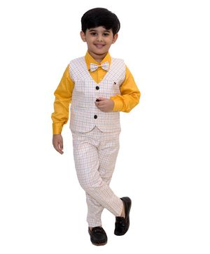 Fourfolds Full Sleeves Solid Shirt With Checked Waistcoat Trouser & Bow Tie - Yellow