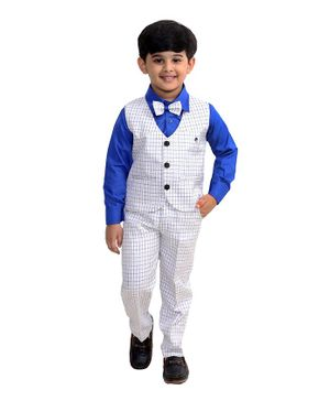 Fourfolds Full Sleeves Solid Shirt With Checked Waistcoat Trouser & Bow Tie - Blue