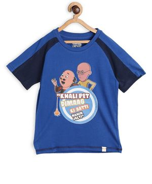 Motu Patlu by Toothless Half Sleeves Cartoon Printed Tee - Blue