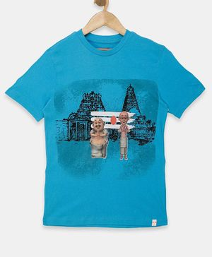 Motu Patlu by Toothless Half Sleeves Cartoon Printed Tee - Light Blue
