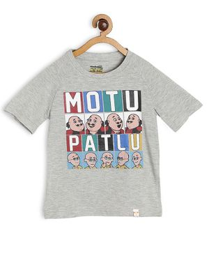 Motu Patlu by Toothless Printed Half Sleeves Tee - Light Grey